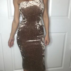 Velvet Light Brown Strapless Dress